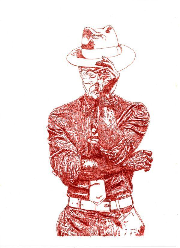 Estudio en tinta de hombre con sombrero